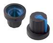 Gałka 14,02x16mm, średnica osi 5mm, czarna, kolor wskaźnika niebieski: G 101B/Bl