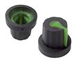 Gałka 14,02x16mm, średnica osi 5mm, czarna, kolor wskaźnika zielony: G 101B/G