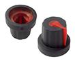 Gałka 14,02x16mm, średnica osi 5mm, czarna, kolor wskaźnika czerwony: G 101B/R