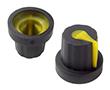 Gałka 14,02x16mm, średnica osi 5mm, czarna, kolor wskaźnika żółty: G 101B/Y