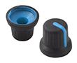 Gałka 16x14,6mm, średnica osi 6mm, czarna, kolor wskaźnika niebieski: G 116B/Bl
