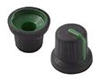 Gałka 14,6x16mm, średnica osi 6mm, czarna, kolor wskaźnika zielony: G 116B/G