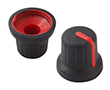 Gałka 14,6x16mm, średnica osi 6mm, czarna, kolor wskaźnika czerwony: G 116B/R