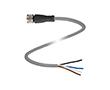 Gniazdo kablowe M12, kabel PCW, Liczba styków: 4, przewód: PVC: K V1-G-2M-PVC