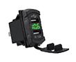 Podwójna ładowarka samochodowa USB z cyfrowym voltomierzem, kwadratowa, zielona: L DUAL.USB.VOLT.SZ