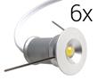 Zestaw 6x LED typu mini downlight, 6W, biała zimna (6000K), 570lm, 120°, 230V,: OLDL.BZ.01W20-ZEd