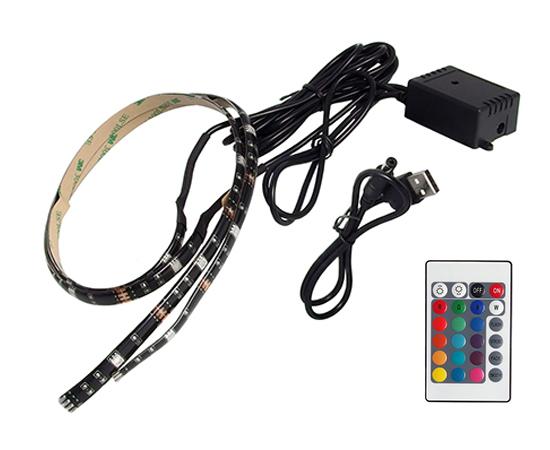 Zestaw 2 taśm LED RGB 5050 IP65 5-6lm/LED, kontroler + pilot(bat.CR2025 w zesta): OLT.TV-USB-RGB