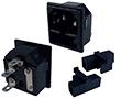 Gn. męskie IEC na panel, zatrzaskowe, z bezpiecznikiem, konektory 4.8mm, zestaw: Z IECgmb-z