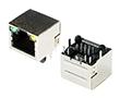 gniazdo telefoniczne 8P8C, standard z diodami LED, kątowe do druku: Z TG8P8C led YG2