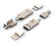 Wtyk USB typ A, biały izolator, do lutowania przewodów: Z USBw-Alb