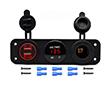 Zestaw 3w1: gniazdo zapalniczki; ładowarka USB: 1A, 2.1A; woltomierz cyfrowy: Z.CAR3w1.2RC