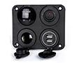 Zestaw 4w1: gniazdo zapal; ładow. USB: 1A, 2.1A; woltom. cyfrowy; ON/OFF: Z.CAR4w1.1SC